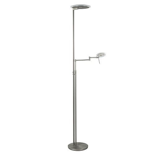LED vloerlamp staal met uplighter en helder glas