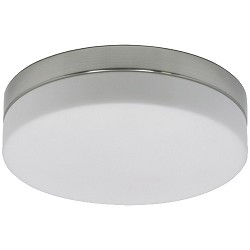 *Badkamer plafondlamp staal-wit glas