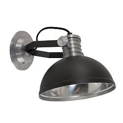 Industriële wandlamp zwart staal bedla