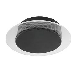Kleine wand/plafondlamp zwart met LED en helder glas