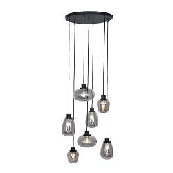 7-Lichts vide hanglamp zwart met smoke glas