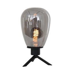 Luxe tafellamp zwart met ovaal glazen kap smoke