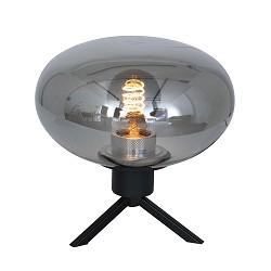 Driepoot tafellamp met ronde smoke glazen kap