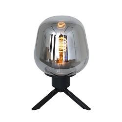 Strak klassieke tafellamp zwart met smoke glas
