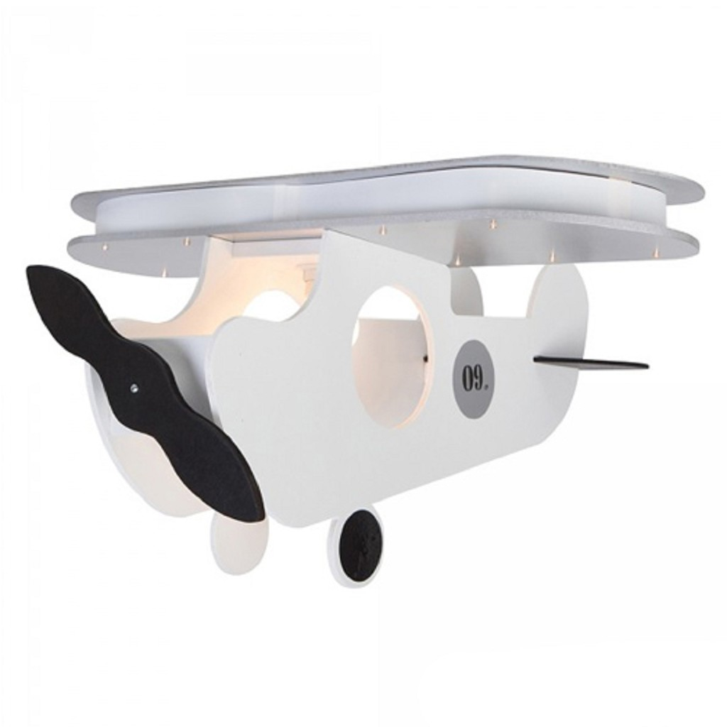 Kinder hanglamp vliegtuig wit met LED