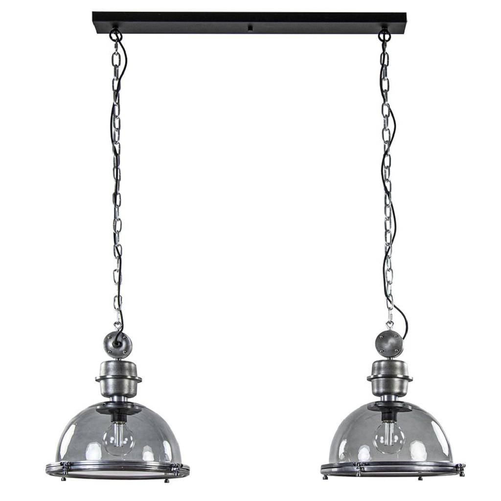 Industriële hanglamp 2-lichts metaal met smoke glas