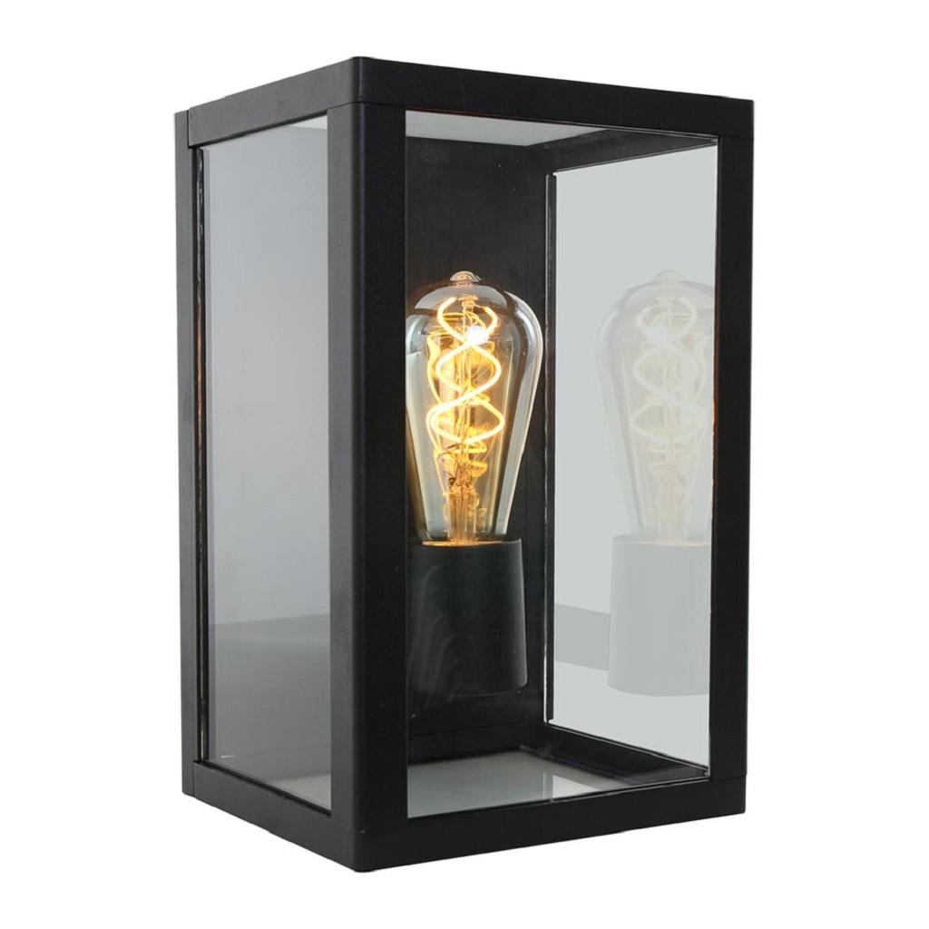 Moderne buiten wandlamp zwart met glas IP44