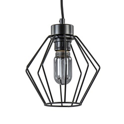 Hanglamp hoekig klein draad zwart