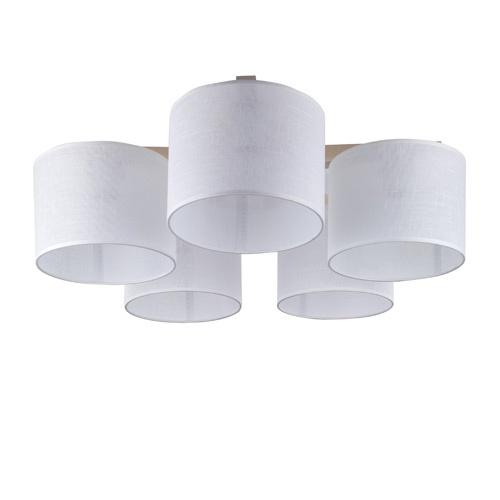 Plafondlamp 5-lichts hout/cilinderkap wit