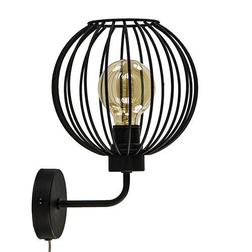 Draad wandlamp mat zwart met snoer
