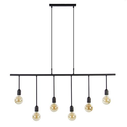 Trendy hanglamp zwart 6-lichts excl.LED