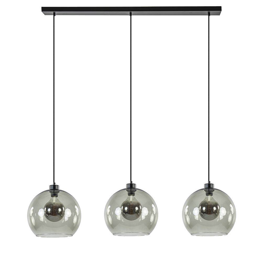 Hanglamp 3-L balk zwart + smoke glas 30cm
