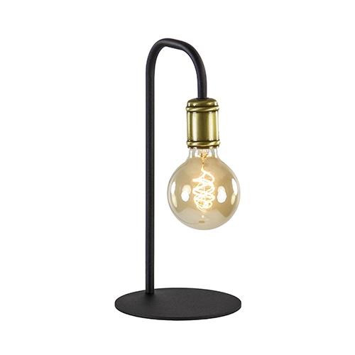 Landelijke tafellamp pendel zwart/brons