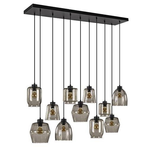 11-Lichts eettafelhanglamp smoke glas