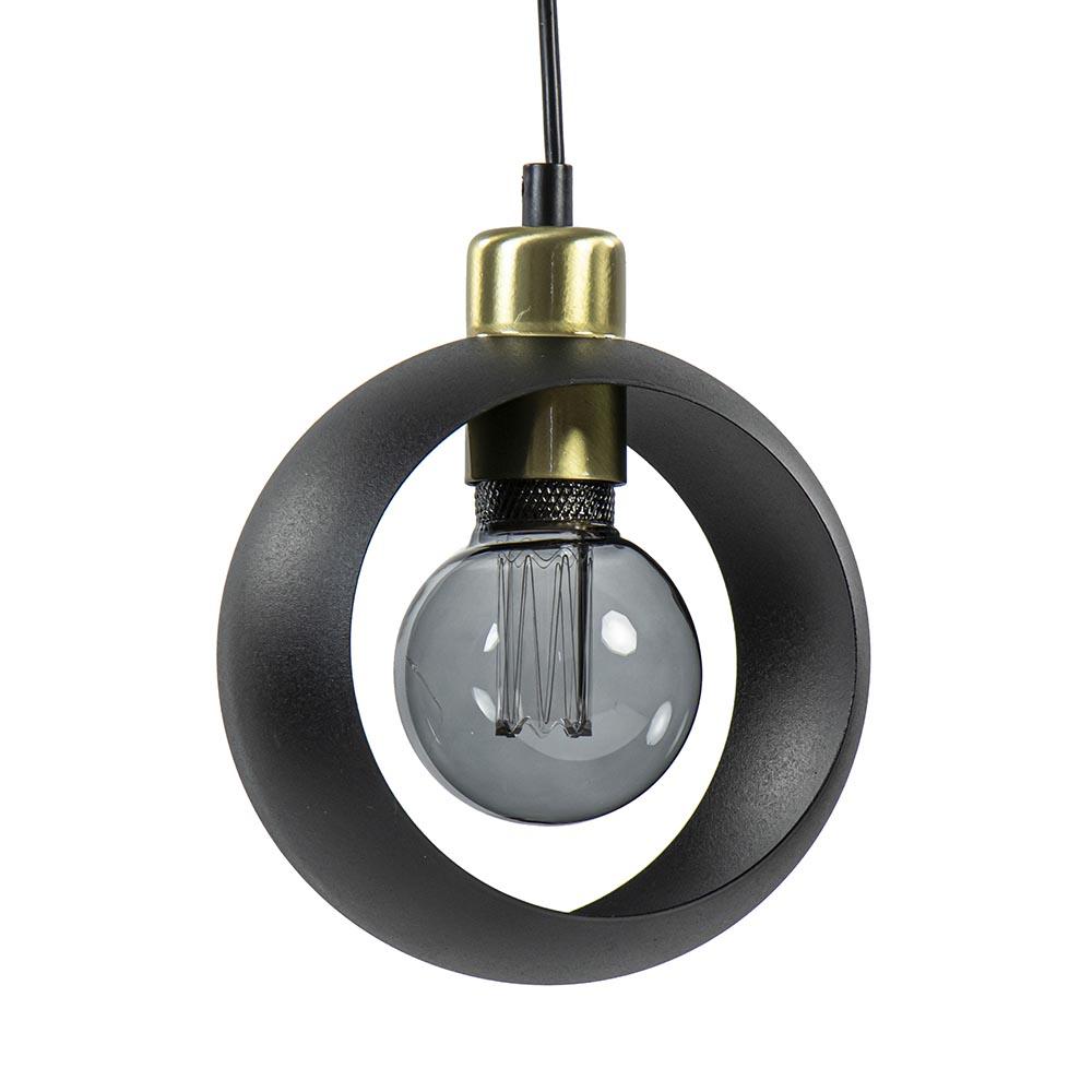 Mat zwarte hanglamp met ronde kap en gouden details