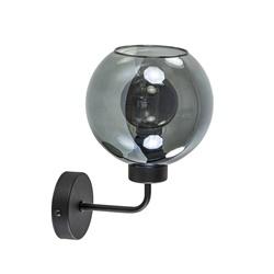 Zwarte wandlamp met smoke glazen bol