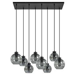 8-Lichts hanglamp zwart met diverse smoke glazen kappen