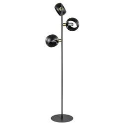 Chique vloerlamp 3-lichts mat zwart met goud