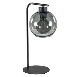 Zwarte tafellamp met smoke glazen bol 18 cm