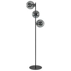 3-Lichts staande lamp zwart met smoke glazen bollen