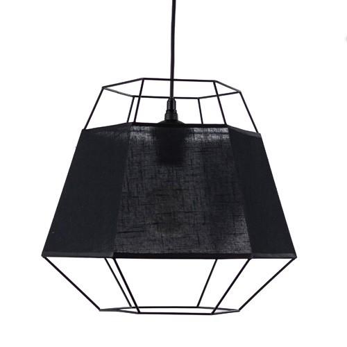 *Frame zwarte hanglamp 'ingebouwde' kap