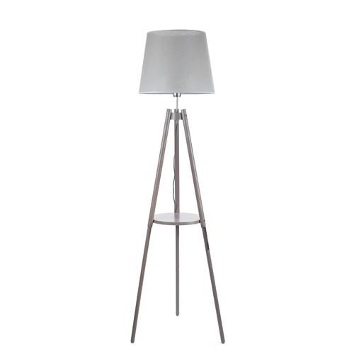 Driepoot vloerlamp grijze kap woonkamer