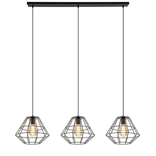 Eettafelhanglamp Diamond zwart 3-Lichts