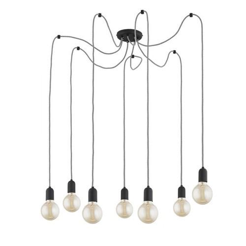 Zwarte hanglamp Spin met 7 snoeren