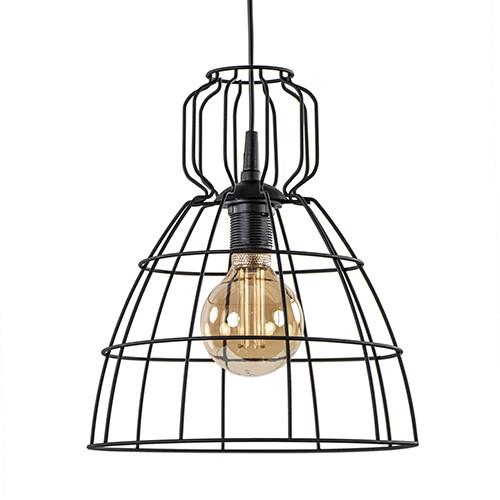 Industriële draad hanglamp zwart