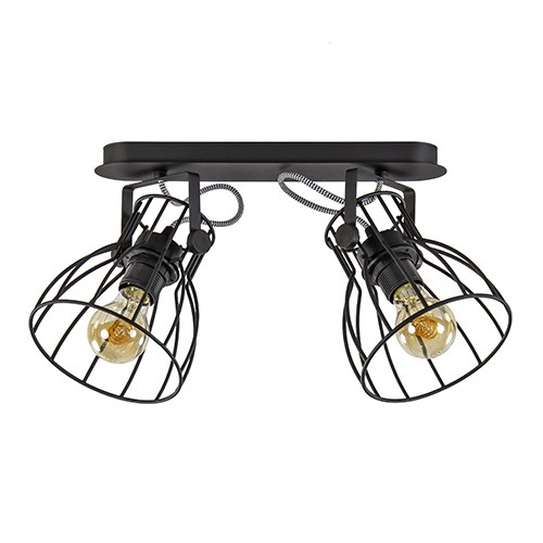 zwarte draad plafondlamp spot 2 lichts