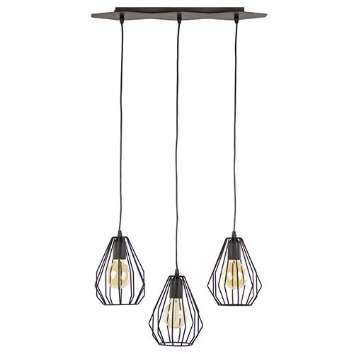 Trendy zwarte draad hanglamp 3-lichts