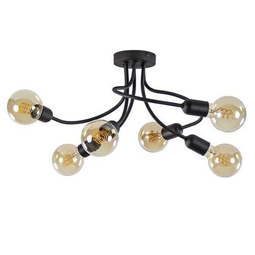 Speelse plafonniere zwart 6-lichts