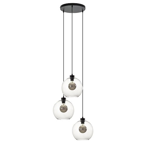 Ronde hanglamp 3-lichts glas helder