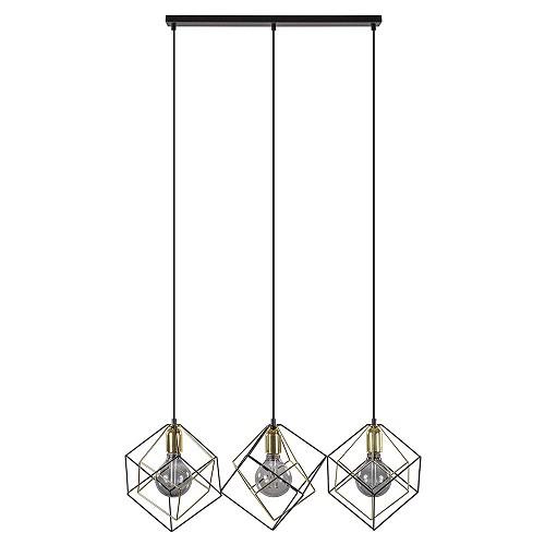 Trendy 3-lichts hanglamp zwart/goud