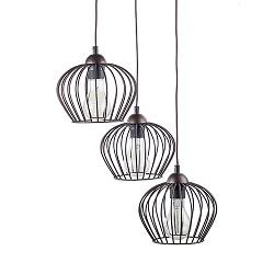 Landelijke draad hanglamp bruin 3-lichts