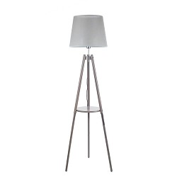 *Driepoot vloerlamp grijze kap woonkamer