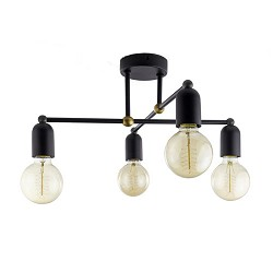 *Landelijk klassieke plafondlamp zwart