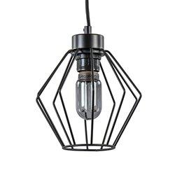 Kleine industriële hanglamp draad zwart