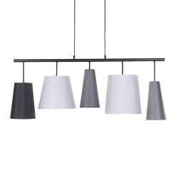 Hanglamp met diverse  kappen zwart-grijs