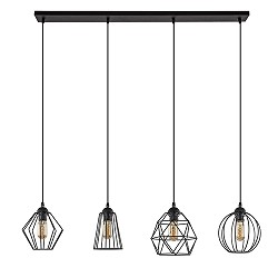 *Eettafel draad-hanglamp zwart 4-lichts