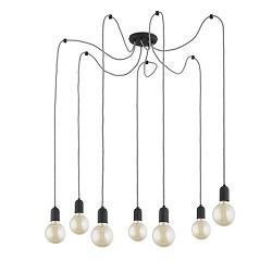 *Zwarte hanglamp Spin met 7 snoeren