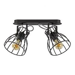Zwarte draad plafondlamp-spot 2-lichts