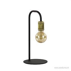 Landelijke tafellamp zwart met brons