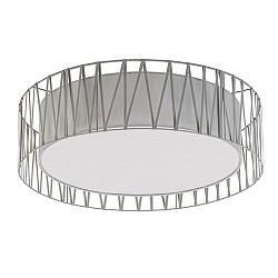 Plafondlamp cilinder kap stof grijs 72cm
