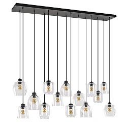 Hanglamp 14-lichts zwart/glas helder