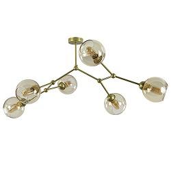 Modern klassieke plafondlamp goud met amber glas