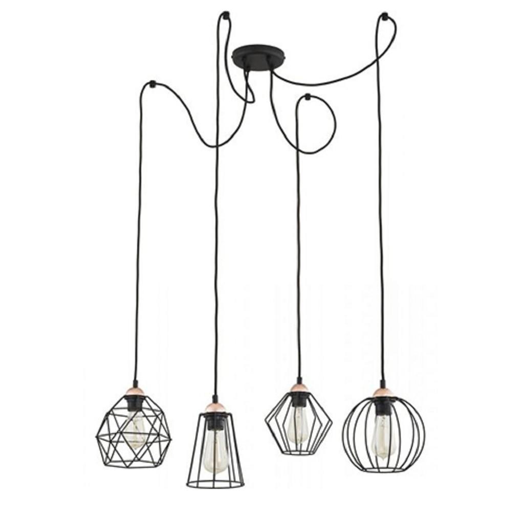 Draad hanglamp Spin zwart en koper