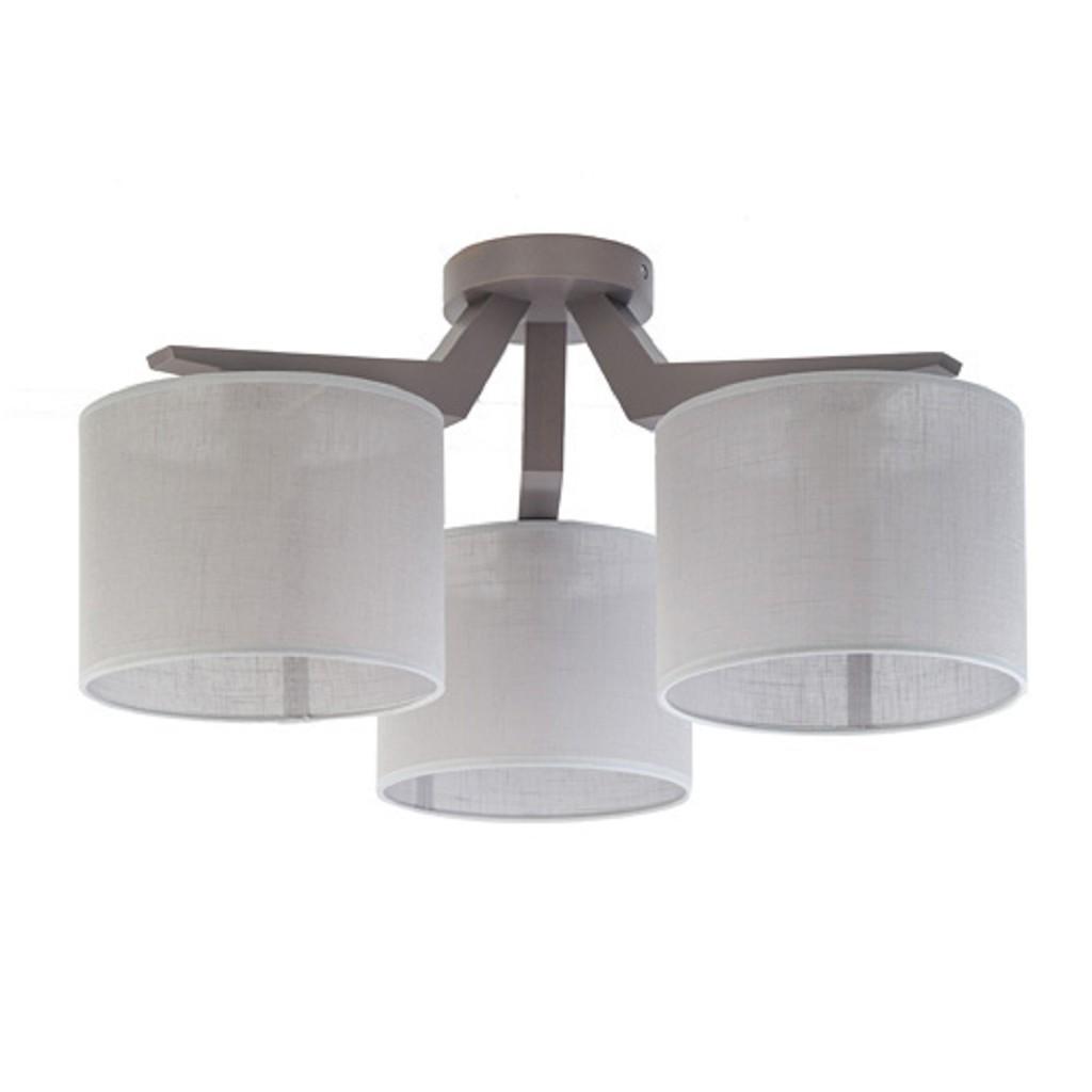 Stoffen plafondlamp in grijs-taupe