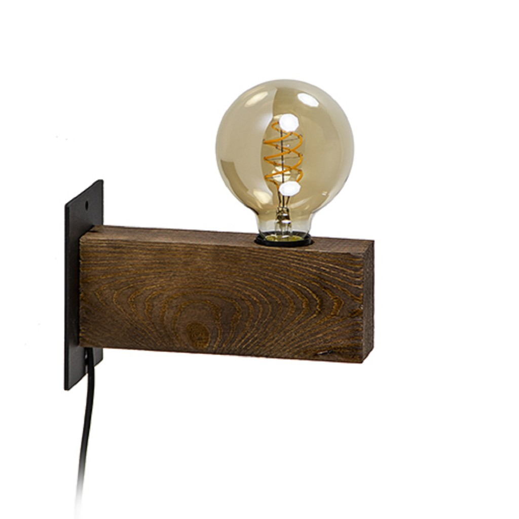 Landelijke wandlamp hout met snoer
