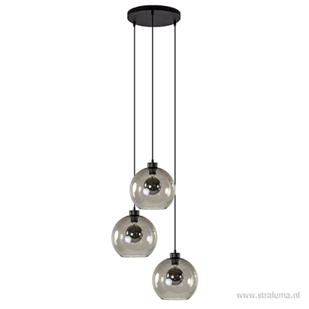 Ronde hanglamp 3-lichts glas antraciet